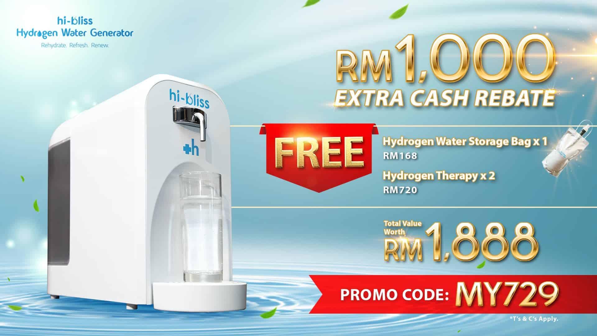 hibliss hydrogen water generator promo